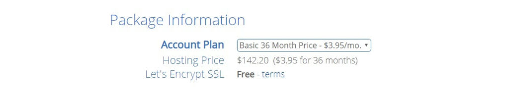 bluehost hosting price basic 36 months