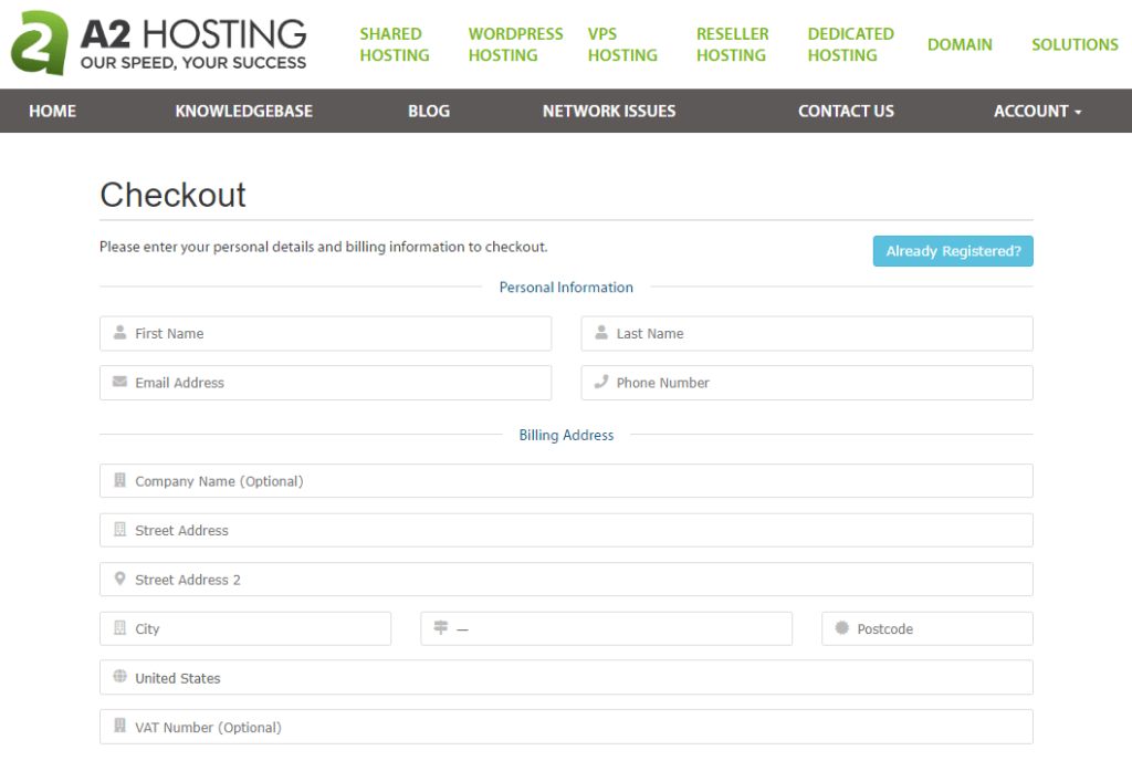 a2 hosting checkout page