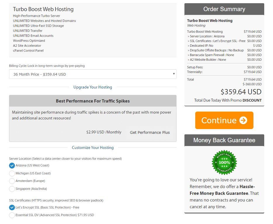 a2 hosting plan customization