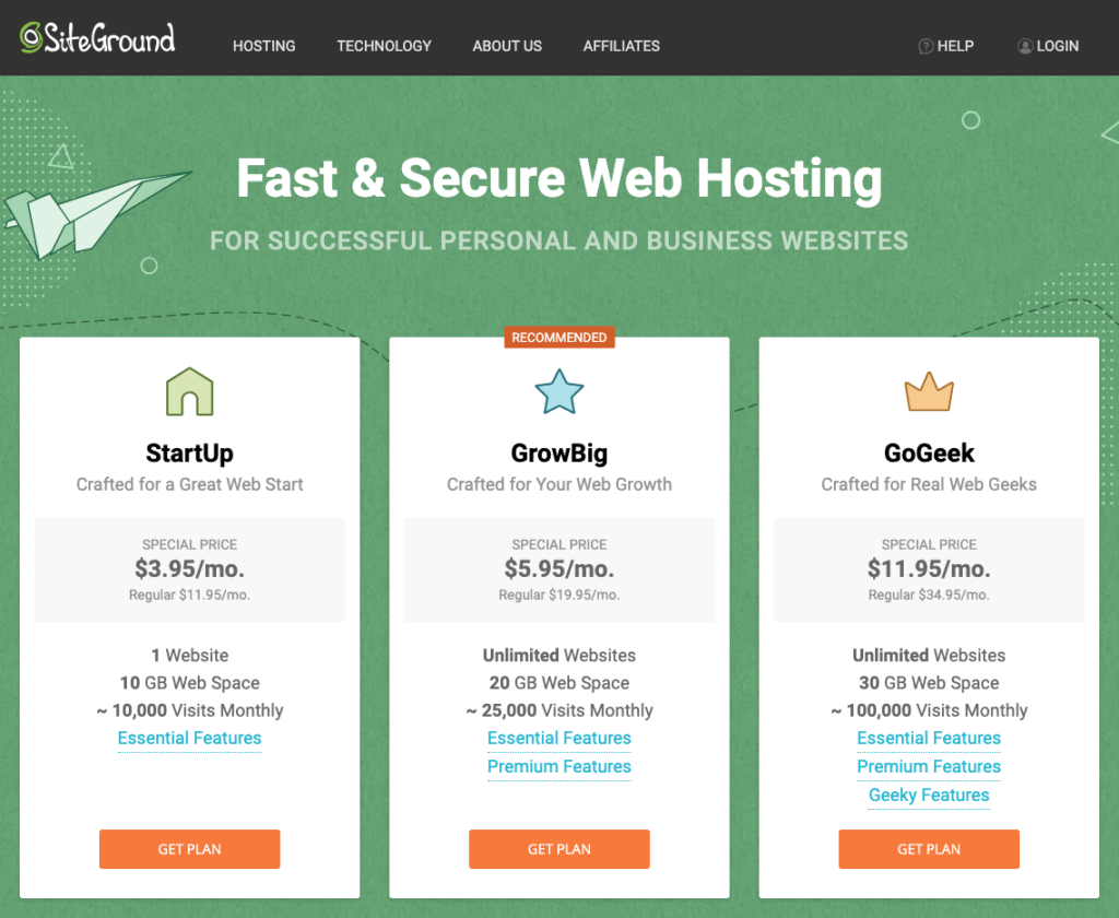 choose siteground's hosting plan