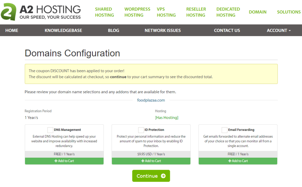 domains configuration at a2 hosting