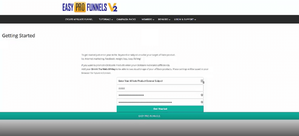 getting started page of easy pro funnels