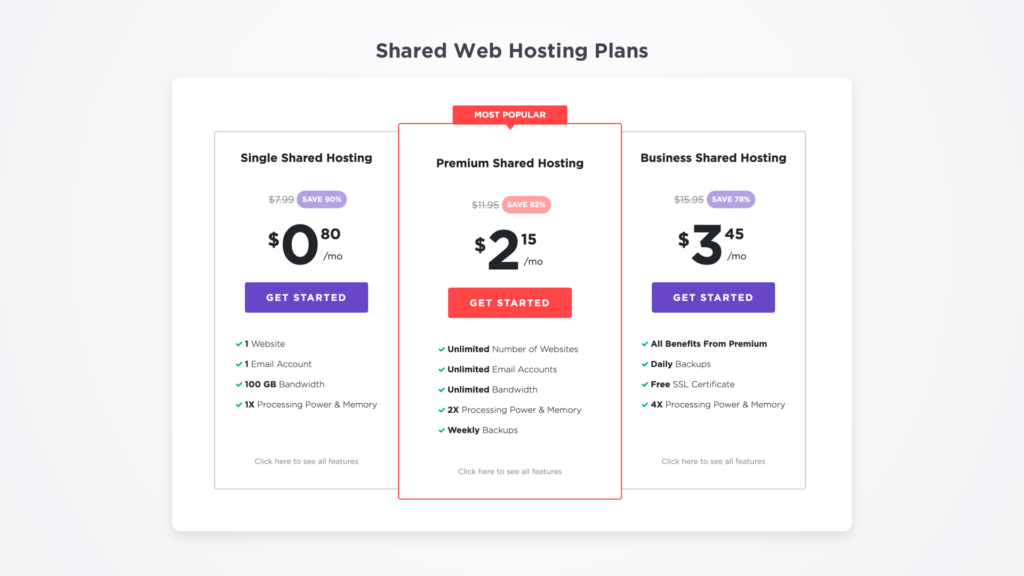 hostinger shared hosting pricing
