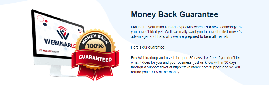 webinarloop 30 days money back guarantee