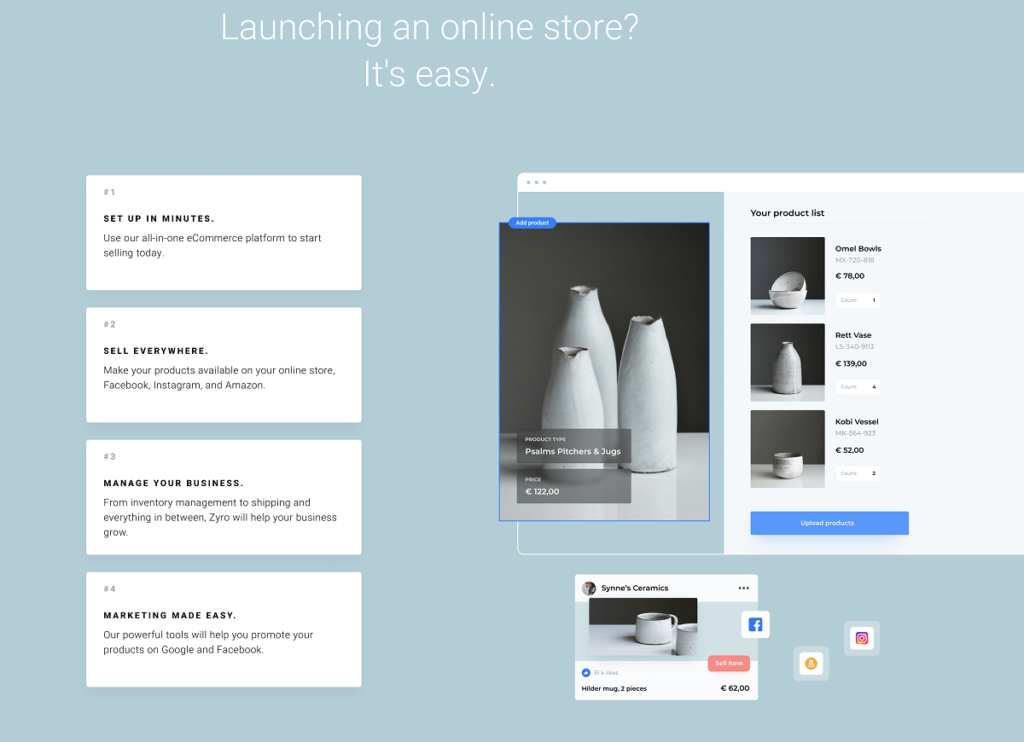 start eCommerce store with Zyro