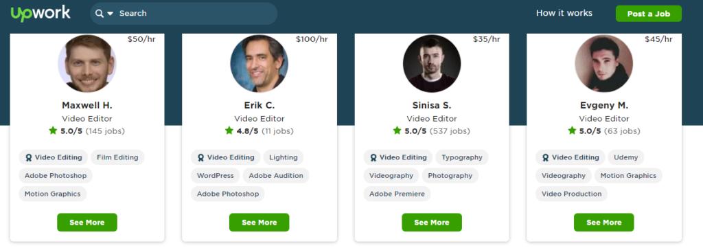 freelance video editors on upwork