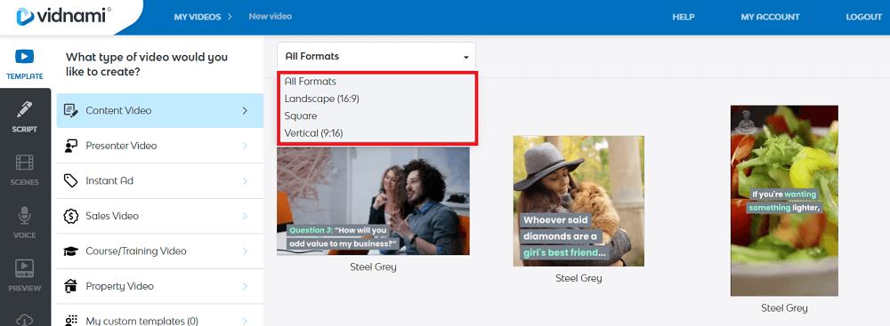 vidnami video format